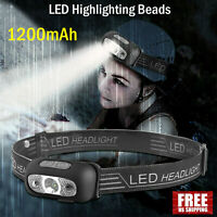 LED Head Torch Light USB Rechargeable Headlamp Waterproof Flashlight Headlight