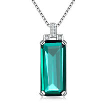 Hot Emerald 925 Sterling Silver Women Jewelry Gems Pendant Without a Chain SP022