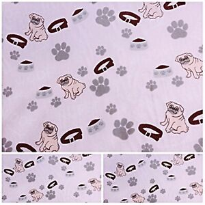 Polycotton Fabric NEW Crafts PUG DOG PET PINK Metre Material Special Offer