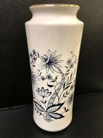 White Ceramic Vase With Gold Rim  Blue Flowers Made in Japan