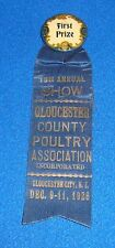 Vintage 1926 Gloucester New Jersey First Prize County Fair Ribbon
