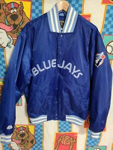 Toronto Blue Jays Vintage Majestic MLB Satin Bomber Snap Jacket Medium Large