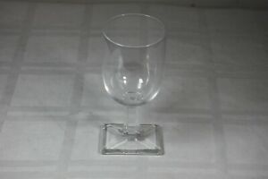 """Art Deco Rectangle Base Foot and Stem Wine Crystal Glass 6.25"""" Water Stemware"""