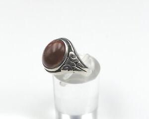 Antiker 835 Silber Ring Steinen mit Stein Korallen Farben Dunkel Rot Damen