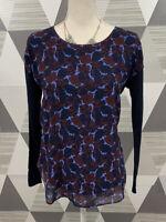Ann Taylor Women's Size XS Blue Floral Scoop Neck Long Sleeve Top Blouse #14C1