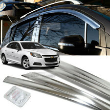 Slim Stainless Steel Window Vent Visor Trim Rain Guard for CHEVY 2012-17 Malibu