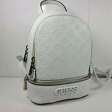 Guess Women Backpack Bag Skye off white faux leather vegan embossed zippers new