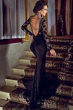 Maxi Abito lungo ricamato pizzo Aderente scollo Nudo Coda Evening Party Dress