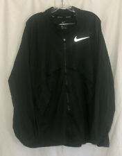 NIKE SHIELD MENS RUNNING JACKET Forest Green Vented Mesh Zip Pocket Size XXL