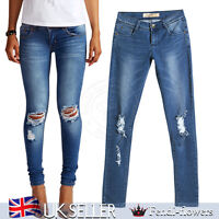 Fashion Womens Ladies Loren Distressed Rip Knee Fit Skinny Jeans In Blue Denim