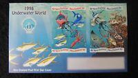 New Zealand 1998 FDC underwater world unesco fish squid tuna shark sword ray