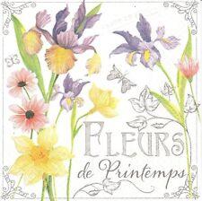 2 Serviettes papier Fleurs de Printemps Decoupage Paper Napkins Spring Flowers