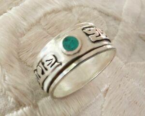 Sehr schöner Silber RING aus TIBET Om Mane Padme Hum mit Türkis