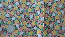 "Vintage Feedsack Feed Sack Fabric ORANGE,GREEN,GOLD,WHITE FLORAL LEAVES 28""X28"""