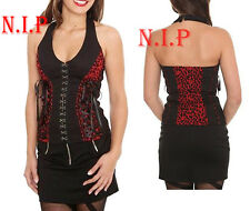 Hot Topic Visual Kei Punk Goth Steampunk Cyber Halter Leopard Lace Up Corset Top