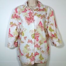 Alia Womens Size 16P Blouse Button Front 3/4 Sleeve Embellished