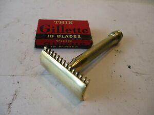 Vintage Gillette Brass Safety Razor with   Blades