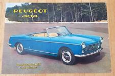 Peugeot 404 Cabriolet - Prospekt Brochure Modelljahr 1961 (französisch)