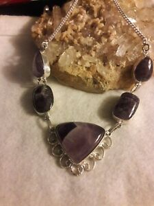 """Artisan Handcrafted Amethyst Gemstone 925 Silver 18"""" Chain Necklace New Jewelry"""