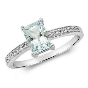 9ct White Gold Aquamarine and Diamond 0.89ctw Ring, Sizes J to Q (208waq)
