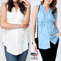 Women Pregnancy Vest Nursing Solid Tunic Chiffon Sleeveless Blouse Maternity Top