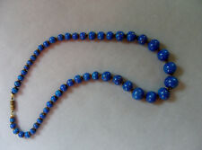 WOW ELEGANTE alte Venetien Murano Glas Kette-Collier Blau-golfarbige Sprenkeln