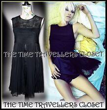 Topshop KATE MOSS Black Tulle Mesh Pleated Babydoll Dress Split Layered UK 10 12