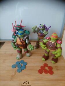Lot 4 figurines tortue ninja armes et lance disques 2012 TMNT TEAM  VIACOM