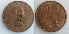 Da collezione 1964 Regina Elisabetta II ONE PENNY COIN-si sono rifugiati & contro-TIMBRATA 153