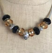 """Pittsburgh Steelers NFL Football Necklace Slider Beads Charms 17"""" Snake Chain"""