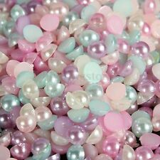 3000Pcs Mixed Half Pearl Round Bead Flat Back 4mm Scrapbook for Craft FlatBack