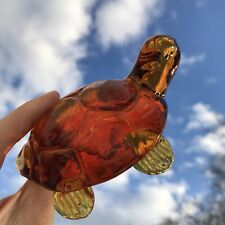 Vintage Amber Art Glass Turtle Figurine Sculpture Textured Shell Paperweight