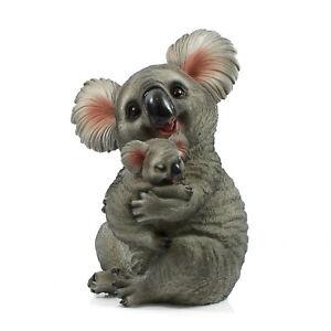 Australia Koala Joey Mother Baby Cuddling Ornament Statue Figurine Garden 35cm