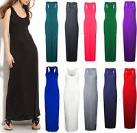 Women Jersey Long Summer Vest Racer Muscle Back Ladies Maxi Dress Plus Size 8-26