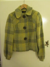 Miss Selfridge Green & Yellow Check Coat / Jacket in Size 12