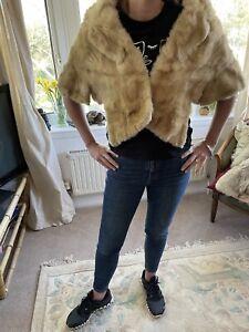 Real Mink Fur Genuine Vintage Collar Scarf Shawl Wrap Winter Neckwarm Cape