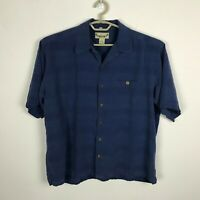 Paradise Coves Camp Shirt Mens Size XL Blue Silk Short Sleeve Button Down