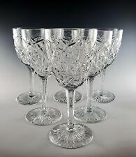 6 Baccarat Crystal BOGOTA Claret Wine Goblets, 1981-91 Fancy Star Cut Design