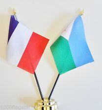 France & Djibouti Double Friendship Table Flag Set
