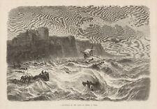Dieppe France Shipwreck Lifesaving Boats Antique Print