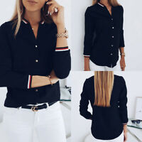 Women Long Sleeve V-neck Loose Tops T Shirt OL Stripe Ladies Button Down Blouse