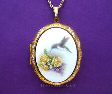 Porcelain HUMMINGBIRD & YELLOW ROSES & LILAC CAMEO Locket Necklace Birthday Gift
