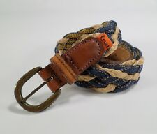 Levis Braided Belt Denim Rope Leather 2241 Strauss and Co Orange Tab Blue 34 Vtg