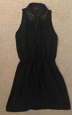NWT AQUA BLACK GOLD STUDDED COLLAR SHEER SHIRT DRESS SIZE S