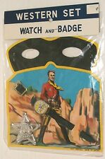 1960s JAPAN vintage COWBOY sheriff TIN BADGE / TOY WATCH w/ LONE RANGER MASK MOC