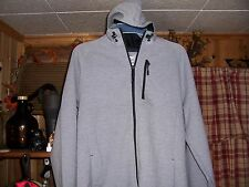 RUSSELL MENS HOODED JACKET SIZE SMALL 34-36 GRAY BLACK 3 POCKETS ZIPPER FRONT