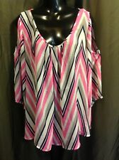 UMGEE Pink Peep Shoulder Womens SEMI-SHEER BOHO Blouse Top SZ 1X