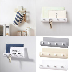 Key Rack Holder Wall Mount Key Organizer 4 Hook Keychain Hanger Home Storage