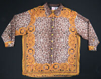 NWOT Vintage 80s 90s Baroque Royalty Leopard Gold Mens Long Sleeve Shirt 42