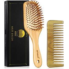 BFWood Wooden Hair Brush Set - Bamboo Paddle Detangling Hairbrush and Sandalwood